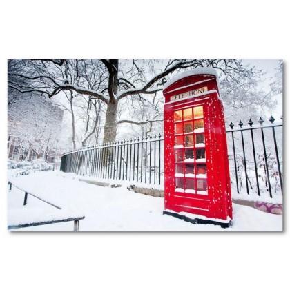 Αφίσα (τηλεφωνικός θάλαμος, κόκκινος, χειμώνας, χιόνι, φράκτης, δέντρο)